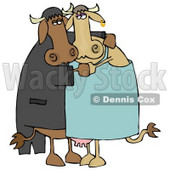 Cute Loving Cow Couple Dancing Together Clipart Illustration © djart #13039