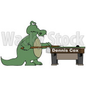 Focused Alligator Playing a Game of Billiards Pool Clipart Illustration © djart #13040