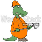 Angry Alligator Construction Worker Holding a Shovel Clipart Illustration © djart #13041