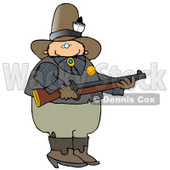 Cowboy Sherrif Holding a Rifle Clipart Illustration © Dennis Cox #13044