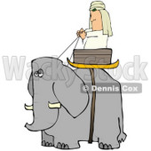 Man Riding in a Basket on an Elephant Clipart Illustration © Dennis Cox #13045