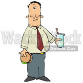 Man Eating a Hamburger and Drinking Cola Clipart Illustration © Dennis Cox #13046