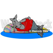Happy Horse Relaxing on a Floatation in a Swimming Pool Clipart Illustration © Dennis Cox #13049