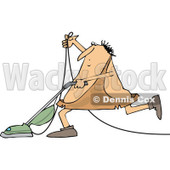 Clipart of a Cartoon Chubby Caveman Vacuuming - Royalty Free Vector Illustration © djart #1305087