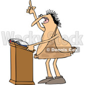 Clipart of a Cartoon Chubby Caveman Giving a Sermon at a Podium - Royalty Free Vector Illustration © djart #1305091
