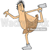 Clipart of a Cartoon Chubby Caveman Wearing Socks and Stretching - Royalty Free Vector Illustration © djart #1305094