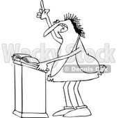 Lineart Clipart of a Cartoon Black and White Chubby Caveman Giving a Sermon at a Podium - Royalty Free Outline Vector Illustration © Dennis Cox #1305099