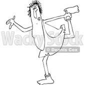 Lineart Clipart of a Cartoon Black and White Chubby Caveman Wearing Socks and Stretching - Royalty Free Outline Vector Illustration © djart #1305102