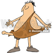 Clipart of a Cartoon Happy Aroused Caveman with a Boner Sticking out of His Clothing - Royalty Free Vector Illustration © djart #1305103