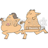 Clipart of a Cartoon Streaking Nude White Man Chasing a Woman - Royalty Free Vector Illustration © Dennis Cox #1305104