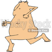 Clipart of a Cartoon Nude White Streaker Man Running - Royalty Free Vector Illustration © Dennis Cox #1305108