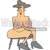 Clipart of a Cartoon Naked Chubby Brunette White Woman with Big Nipples, Sitting in a Chair - Royalty Free Vector Illustration © djart #1305109