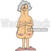 Clipart of a Cartoon Naked Senior White Woman with Sagging Boobs and Folded Arms, Peering over Her Glasses - Royalty Free Vector Illustration © Dennis Cox #1305111