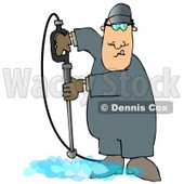 Man Cleaning a Floor With a Pressure Washer Clipart Illustration © djart #13052