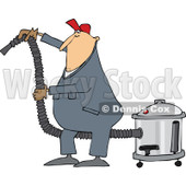 Clipart of a Cartoon Chubby White Worker Man Using a Shop Vacuum - Royalty Free Vector Illustration © djart #1305576