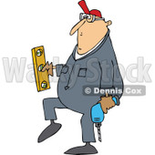 Clipart of a Cartoon Chubby White Worker Man Carrying a Power Drill and Level - Royalty Free Vector Illustration © djart #1305578