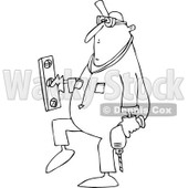 Lineart Clipart of a Cartoon Black and White Chubby Worker Man Carrying a Power Drill and Level - Royalty Free Outline Vector Illustration © Dennis Cox #1305579