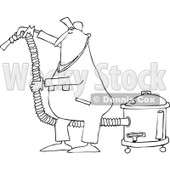 Lineart Clipart of a Cartoon Black and White Chubby Worker Man Using a Shop Vacuum - Royalty Free Outline Vector Illustration © Dennis Cox #1305581