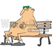 Clipart of a Cartoon Chubby Nude White Man Wearing Sunglasses and Sitting on a Park Bench - Royalty Free Vector Illustration © Dennis Cox #1305926