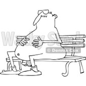 Lineart Clipart of a Cartoon Black and White Chubby Nude Man Wearing Sunglasses and Sitting on a Park Bench - Royalty Free Outline Vector Illustration © Dennis Cox #1305927