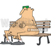 Clipart of a Cartoon Chubby Hairy Nude White Man Wearing Sunglasses and Sitting on a Park Bench - Royalty Free Vector Illustration © djart #1305928