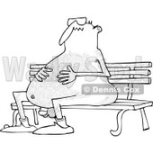 Lineart Clipart of a Cartoon Black and White Chubby Hairy Nude Man Wearing Sunglasses and Sitting on a Park Bench - Royalty Free Outline Vector Illustration © djart #1305929