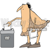 Clipart of a Cartoon Chubby Caveman Shredding Documents - Royalty Free Vector Illustration © djart #1305936