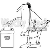 Lineart Clipart of a Cartoon Black and White Chubby Caveman Shredding Documents - Royalty Free Outline Vector Illustration © djart #1305937