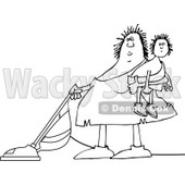 Lineart Clipart of a Cartoon Black and White Chubby Cavewoman Holding Her Son and Vacuuming - Royalty Free Outline Vector Illustration © djart #1305939