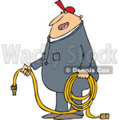 Clipart of a Cartoon Chubby White Worker Man Holding an Air Hose - Royalty Free Vector Illustration © djart #1305940