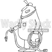 Lineart Clipart of a Cartoon Black and White Chubby Worker Man Holding an Air Hose - Royalty Free Outline Vector Illustration © djart #1305941
