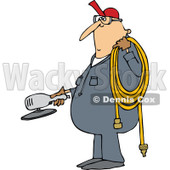 Clipart of a Cartoon Chubby White Worker Man Holding a Grinder and an Air Hose - Royalty Free Vector Illustration © djart #1305942