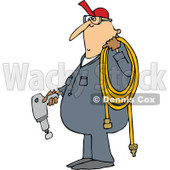 Clipart of a Cartoon Chubby White Worker Man Holding an Impact Tool and Air Hose - Royalty Free Vector Illustration © djart #1305944
