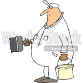 Clipart of a Cartoon Chubby White Worker Man Painting - Royalty Free Vector Illustration © djart #1305947