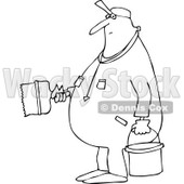 Lineart Clipart of a Cartoon Black and White Chubby Worker Man Painting - Royalty Free Outline Vector Illustration © djart #1305948