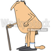 Clipart of a Cartoon Chubby Old Nude White Man Walking with a Cane and Dragging His Weiner - Royalty Free Vector Illustration © djart #1306885