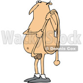 Clipart of a Cartoon Chubby Nude White Man Carrying His Long Hose Penis - Royalty Free Vector Illustration © djart #1306887