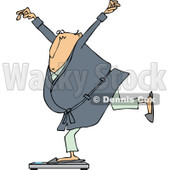 Clipart of a Cartoon Chubby White Man in a Robe and Pjs, Balancing on a Scale - Royalty Free Vector Illustration © Dennis Cox #1307136