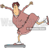 Clipart of a Cartoon Chubby White Woman in a Robe and Pjs, Balancing on a Scale - Royalty Free Vector Illustration © djart #1307138
