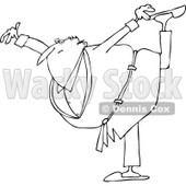 Lineart Clipart of a Cartoon Black and White Chubby Senior Woman in a Robe, Balancing on One Foot - Royalty Free Outline Vector Illustration © djart #1311956