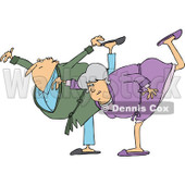 Clipart of a Cartoon Chubby Senior Couple in Robes, Balancing on One Foot - Royalty Free Vector Illustration © djart #1311957