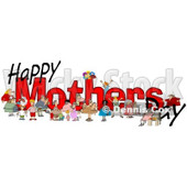 Clipart of Happy Mothers Day Text with Children and Adults - Royalty Free Illustration © Dennis Cox #1311958