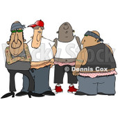 Clipart of a Group of Tattooed White, Black and Hispanic Gangsters with Saggy Pants - Royalty Free Illustration © Dennis Cox #1311960