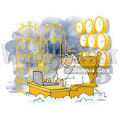Clipart of Jesus Working on a Laptop at Heavens Gates, with Clocks Behind Him - Royalty Free Illustration © djart #1311962