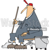 Clipart of a Cartoon White Male Custodian Janitor Taking a Break and Sitting in a Chair with a Mop and Bucket - Royalty Free Vector Illustration © Dennis Cox #1312465