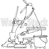 Lineart Clipart of a Cartoon Black and White Male Custodian Janitor Taking a Break and Sitting in a Chair with a Mop and Bucket - Royalty Free Outline Vector Illustration © djart #1312466