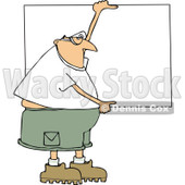 Clipart of a Cartoon Chubby White Man Wearing Safety Goggles and Holding up a Blank Sign - Royalty Free Vector Illustration © djart #1312468