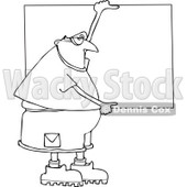 Lineart Clipart of a Cartoon Black and White Chubby Man Wearing Safety Goggles and Holding up a Blank Sign - Royalty Free Outline Vector Illustration © Dennis Cox #1312469