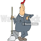 Clipart of a Cartoon White Male Custodian Janitor Checking His Watch and Standing with a Mop and Bucket - Royalty Free Vector Illustration © djart #1312470