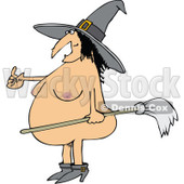 Clipart of a Cartoon Fat Naked Witch Beckoning and Holding a Broom - Royalty Free Vector Illustration © djart #1313801